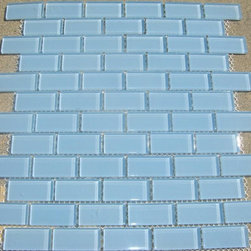 B25 Light Aqua Blue Subway Glass Mosaic Tile - Light Blue Subway Glass Mosaic Tile B25