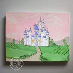 Girl Nursery Decor - Princess - Canvas art, Baby Nursery- Princess Castle - Princess Castle Baby Nursery Canvas Print for any girl's room.