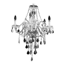 """Joshua Marshal Home Collection - 5 Light 22"""" Chrome Chandelier Victorian Design, Chrome - The dense crystal distribution throughout this stunning design gives this collection an impressive and dynamic presence that will enhance any decor. It is 22"""" wide with a Combination of 100% genuine Swarovski Spectra 14mm crystals (286 pieces), with European 30% lead 40mm ball crystals (1 pieces), European 30% lead 2.0"""" french cut crystals (25 pieces) and European 30% lead 2.5"""" french cut crystals (21 pieces)."""