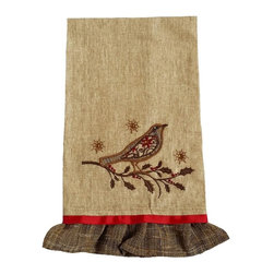 Xia Home Fashions - Bird On Twig Emboridery Tea Towel , 16x22 - A beautiful embroidered Christmas bird with jeweled accents perches on a holly branch in this charming and magical holiday linens collection! Handwash cold water, no bleach, lay flat to dry. Light iron as needed.
