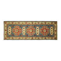 Manhattan Rugs - New Tufts Blue Super Veg Dyed Kazak 2'x6' Geometric Hand Knotted Wool Rug H5888 - Kazak (Kazakh, Kasak, Gazakh, Qazax). The most used spelling today is Qazax but rug people use Kazak so I generally do as well.The areas known as Kazakstan, Chechenya and Shirvan respectively are situated north of  Iran and Afghanistan and to the east of the Caspian sea and are all new Soviet republics.   These rugs are woven by settled Armenians as well as nomadic Kurds, Georgians, Azerbaijanis and Lurs.  Many of the people of Turkoman origin fled to Pakistan when the Russians invaded Afghanistan and most of the rugs are woven close to Peshawar on the Afghan-Pakistan border.There are many design influences and consequently a large variety of motifs of various medallions, diamonds, latch-hooked zig-zags and other geometric shapes.  However, it is the wonderful colours used with rich reds, blues, yellows and greens which make them stand out from other rugs.  The ability of the Caucasian weaver to use dramatic colours and patterns is unequalled in the rug weaving world.  Very hard-wearing rugs as well as being very collectable