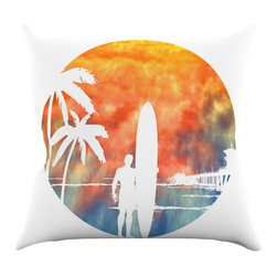 "Kess InHouse - Micah Sager ""Waiting"" Orange White Throw Pillow (26"" x 26"") - Rest among the art you love. Transform your hang out room into a hip gallery, that's also comfortable. With this pillow you can create an environment that reflects your unique style. It's amazing what a throw pillow can do to complete a room. (Kess InHouse is not responsible for pillow fighting that may occur as the result of creative stimulation)."