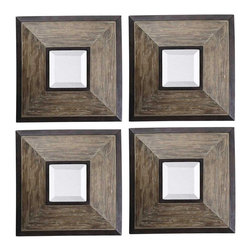 "Uttermost - Accent Uttermost Set of 4 Fendrel Squares Decorative Wall Mirrors - Warm tones of aged pecan and bronze details enhance the distressed wood frames of this set of four decorative wall mirrors. Beveled mirror glass adds an elegant touch to this contemporary rustic design. These Uttermost mirrors are perfect for an irregular shape wall as they can be arranged to fit any space. Set of 4 distressed wood mirrors. Aged pecan finish. Rustic dark bronze details. Beveled mirror glass. Recessed sawtooth hanger. 16 1/4"" high. 16 1/4"" wide. 2 1/2"" deep. Glass only is 5 1/2"" square.  Set of 4 distressed wood mirrors.    Aged pecan finish.   Rustic dark bronze details.   Beveled mirror glass.   Recessed sawtooth hanger.   16 1/4"" high.   16 1/4"" wide.   2 1/2"" deep.  Glass only is 5 1/2"" square."
