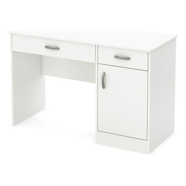 South Shore - Kids Desk in White - Accessories not included. Metal handles in a pewter finish. Two storage spaces behind the door divided by one adjustable shelf. Each shelf support up to 30 lbs.. Cut out hole in the back panel allows for easy wire management. Small drawer for pens, pencils, a calculator and all those handy little items. Large drawer for laptop computer and books. Metal drawer slides for smooth gliding. Laminated particle board. Warranty: Five years. Made in Canada. Assembly required. 47.25 in. W x 18.75 in. D x 30.25 in. H (72 lbs.). Assembly InstructionsThis Axess work desk is the perfect answer to organize your childs room at a good price. The work surface is great for laying out homework or setting down a laptop.
