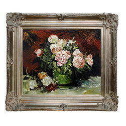 "overstockArt.com - Van Gogh - Bowl with Peonies and Roses - 20"" X 24"" Oil Painting On Canvas Hand painted oil reproduction of a famous Van Gogh painting, Bowl with Peonies and Roses . The original masterpiece was created in 1886. Today it has been carefully recreated detail-by-detail, color-by-color to near perfection. Vincent Van Gogh's restless spirit and depressive mental state fired his artistic work with great joy and, sadly, equally great despair. Known as a prolific Post-Impressionist, he produced many paintings that were heavily biographical. This work of art has the same emotions and beauty as the original. Why not grace your home with this reproduced masterpiece? It is sure to bring many admirers!"