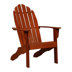 "Southern Enterprises Inc - Southern Enterprises Inc Adirondack Chair X-5065RC - This chair features traditional wide arm rests, a curved seat, and high back support that makes this chair a pleasure to sit in. The chair has four sturdy wooden legs and a wooden slat seat to allow for quick drying after a cooling rainfall. Since the wood is constructed of weather resistant hardwoods the chair will remain structurally sound for many years to come. Perfect for the patio or by the pool this chair will be a great addition to your home.  - 26.25"" W x 32"" D x 40"" H                                                                              - Seat height: 14.5""                                                                                    - Dark brown wood                                                                                       - Weather resistant hardwoods                                                                           - Supports up to 350 lb.                                                                                - Assembly required                                                                                     - Ships from Carrollton, TX"