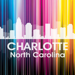 "Charlotte Vertical Lined Rainbow Print - Nicknamed the Queen City and known as ""the thrill capital of the Southeast"" thanks to the Carowinds amusement park, the city of Charlotte shines bright in a rainbow of color. Show off a little city pride with the digital and photographic layers on this mixed-media art."