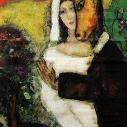 "Marc Chagall Midsummer Night Street Banner Wall Art - From the San Francisco Museum of Modern Art, an authentic, limited edition street banner to display in your home as spectacular wall art. Shakespeare's Juliet asked: ""What's in a name? That which we call a rose. By any other name would smell as sweet."" Marc Chagall borrowed from the French when he changed his name from Moishe Shagall. He also may have borrowed from Shakespeare in his 1939 painting, Midsummer Night's Dream, by pairing Bottom and Titania from the playwright's comedy of the same name. Or perhaps it is beauty and the beast in the painting adorning the banner promoting SFMOMA's exhibition, Marc Chagall."