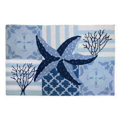 Homefires - Starfish & Coral On Blue Rug - Calming, crystal blue water laps its way across your home with this machine washable, wool-like area rug. The deep sea adventure is just waiting for you to take your shoes off and dive in.