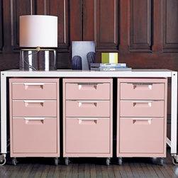 TPS pink 3-drawer filing cabinet -
