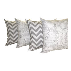 Land of Pillows - Zig Zag Chevron Storm Gray and Newsletter Storm Gray Throw Pillow - Set Of 4 - Give your sofa, day bed or window seat the perfect pop of cushiony style with these patterned throw pillows. This set of four storm gray and creamy white decorative pillows includes two with a chic chevron design, and two with a charming French newsprint pattern. These square pillows come with high quality fiber filling, and a soft cotton zipper closed cover.