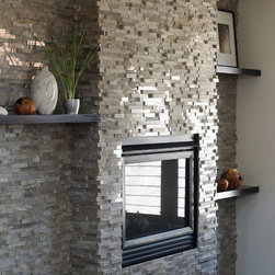 Grigio Vanadeco - Grigio Vanadeco is a warm gray mosaic wall cladding, composed of a 50/50 blend of honed and polished marble. Beautiful as a fireplace or a feature wall, both interior or exterior, residential or commercial.