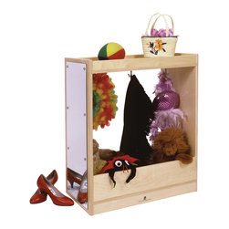 "Steffywood - Steffywood 2-In-1 Wide Kids Dress Up Storage Cabinet 30"" High With Mirror - Has storage on top and mirror on one side.  Unit has three, top-mounted double coat hooks.    Sturdy glue and dowel construction.  Tough clear UV finish."