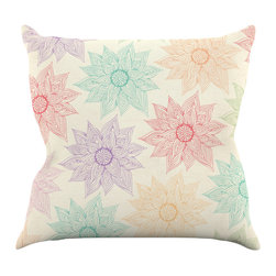 "Kess InHouse - Pom Graphic Design ""Spring Florals"" Rainbow Tan Throw Pillow (18"" x 18"") - Rest among the art you love. Transform your hang out room into a hip gallery, that's also comfortable. With this pillow you can create an environment that reflects your unique style. It's amazing what a throw pillow can do to complete a room. (Kess InHouse is not responsible for pillow fighting that may occur as the result of creative stimulation)."