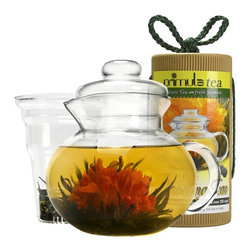 Epoca - Flowering Tea Pot Set - Premium Flowering Tea Pot Gift Set (1-PTA-3940 and 1-TEA-2012). Premium offers the ideal choice for tea connoissures and beginners alike with its Flowering Tea Gift set. Each beautiful box contains a 40 oz hand blown glass Tea Pot, Loose Tea infuser, and a canister of 12 different Flowering Green Teas with fresh Jasmine.