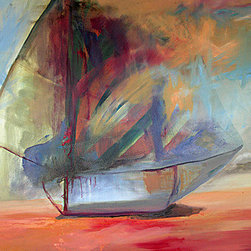 Dream Boat (Original) by Jen Dacota - Dream Boat appeared on the canvas as I was painting. I began to see the shape of a sailboat take form as I was painting the background. A magical, rare moment!