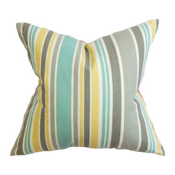 The Pillow Collection - Manila Stripe Pillow Gray - Add a striking and modern vibe to your interiors with this decor pillow. Adorned with a classy stripe pattern in shades of gray, blue, yellow and white. This plush statement piece complements various themes, including coastal, contemporary and traditional. Proudly made in the US, this square pillow is made with 100% soft and durable cotton fabric. Hidden zipper closure for easy cover removal.  Knife edge finish on all four sides.  Reversible pillow with the same fabric on the back side.  Spot cleaning suggested.