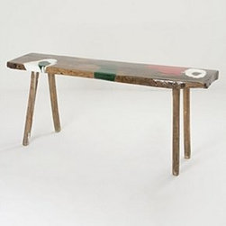 "Anthropologie - Karsa Work Bench - One of a kindWood, resin34""H, 78""W, 18""DHandcrafted in Hungary"