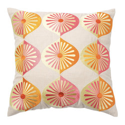 Emma at Home - Many Fans Pillow, Sunshine - This mod look brings just the right pop of design you look for in a throw pillow. The embroidered shapes conjure up images of freshly sliced fruit and will have you dreaming of summer cocktails. It's perfect for a patio chaise lounge.