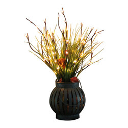 The Firefly Garden - China Doll - Illuminated Floral Design, Modern Lantern - China Doll is an illuminated piece that glows with an Asian simplicity of form. Lighted branches extend outward from a rustic, mesh lantern. Touches of green, orange and brown create a beautiful accent arrangement.