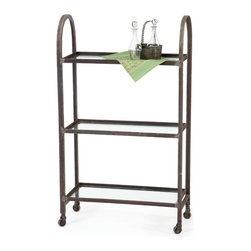 """Domed Shelf - Our divine Domed Shelf, with retro industrial steel frame, is highlighted by curved sides and three roomy glass shelves, to make this the perfect choice for displaying and storing in trendy modern style. Dimensions: 28""""w x 11.75""""d x 48""""h"""