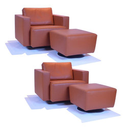 Two Nelson Club Chairs W/Two Ottomans Designed By Eoos For Walter Knoll - Dimensions: L 35''  × W 35''  × H 28''