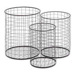 Benzara - Sleek Style The Handy Set of 3 Metal Container Basket Home Decor 50291 - Sleek and modern inspired style the handy set of 3 metal container basket living and family room home accent decor