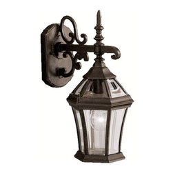 "BUILDER - KICHLER 9789TZ Townhouse Traditional Outdoor Wall Sconce - With its intricate design, the Townhouse Collection adds classic form to Kichler's expansive assortment of decorative outdoor lighting. Made by the finest craftsmen in the industry, each piece is formed from cast aluminum and is U.L. listed for wet location, ensuring these high quality fixtures will continue looking fabulous for years to come. This 15-1/2"" high, 1-light wall lantern features our Tannery Bronze finish with clear beveled glass panels, which uses a 100-watt (max.) bulb that accentuates the luster of your home with zeal."