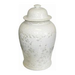 Belle & June - Crystal Shell Temple Jar Small - What secrets are hidden inside this mystical jar? Curvy and sweet with some structural flare, this snow-white accent piece is a stunning addition to your living room or office. Try placing it solo on the credenza, or use a pair on your fireplace mantel for a clean and airy look.