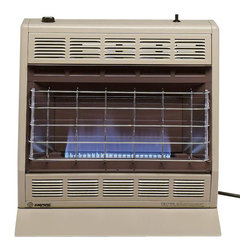 Empire Comfort - Vent-Free Blue Flame Heater BF30NAT - Natural Gas - The Blue Flame heaters warm the air, which rises to create natural circulation in the room. Ideal for any supplemental heat application. The BF-30 offers the visual warmth of an alluring blue flame with a hydraulic thermostat that modulates from 8,500 BTU to 30000 BTU for continuous temperature control.