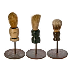 Salvatecture Studio - Vintage Shaving Brushes on Stands #13, Set of 3 - Your bathroom can use these vintage artifacts to give it some unique character. Each shaving brush in this set shows the weathered effects of use and is proudly mounted on a reclaimed iron stand. This threesome is bound to cause a lather wherever they are displayed.