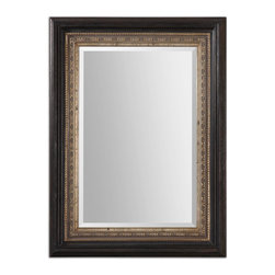 """Uttermost - Uttermost Clermont Dark Bronze Mirror 14243 - Distressed, dark bronze outer frame accented with a heavily antiqued, golden champagne inner frame and a taupe gray wash. Mirror has a generous 1 1/4"""" bevel. May be hung horizontal or vertical."""
