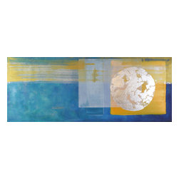 """Casarietti Studio - """"Refreshed"""" by Casarietti - Invest in a piece of art that will inspire you each and every day. This collaborative painting by Robert and Michelle Casarietti evokes a sense of cleansing energy with its palette of sky blue, yellow and silver. Hang it in a high traffic room for a daily dose of its vibrant glow."""