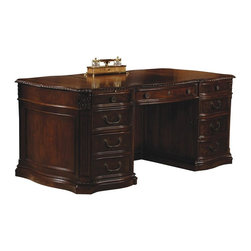 Hekman Furniture - Home Office Century Carved Serpentine Desk - Six storage drawers. Two file drawers on metal slides. Letter and legal filing. Pull-out writing surface above each pedestal. One partner pull-out surface over knee hole. Bookcase modesty with one adjustable shelf and palm rest. Strategically located cut outs. Provides neat and orderly routing of cords and connections. Center drop front. Pull out panel allows location of keyboard in ergonomic position. Warranty: One year. Old world walnut burl finish. 72 in. W x 36 in. D x 30 in. HGang locking of both drawers from one location above top drawer.