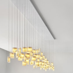 Tulip Chandelier - Graceful dots of light flit between paper thin layers of glass.
