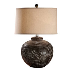 "Crestview - Crestview CVAP1256 Graham Table Lamp - Graham Table Lamp Hammered Ceramic Pot Table Lamp in Iron & Taupe Washed Finish (14x15x10"" Light Wheat Linen Fabeic Hardback Drum Shade) 3-way 150w max wattage bulb 26"" Ht."