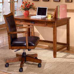 Signature Design by Ashley - Mission Style 2 Pc Writing Desk & Chair Set - Set includes Leg Desk and Arm Chair. Color/Finish: Dark Oak Stain. Traditional mission styling. Constructed with oak veneers and hardwood solids. Pull-out keyboard tray is covered with black PVC for durability. Leg Desk: 48 in. W x 28 in. L x 30 in. H. Arm Chair: 21 in. W x 21 in. L x 38 in. H