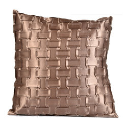 "Concepts Life - Concepts Life Hand Woven Decorative Pillow  Bronze Chain - No space is complete without an element of sultry shimmer. Use the texture and shine of these pillows as an eye-popping contrast to the solid backdrop of a chair or sofa.  Hand-made Materials: Polyester cover with poly filler Spot clean Dimensions: 18""h x 18""w Weight: 1.5 lbs Pillow arrives in a vacuum sealed bag Once the pillow is aired and fluffed it will regain its full, soft and plump shape"