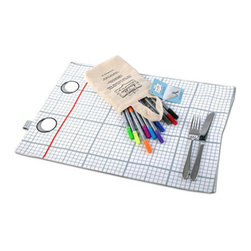Doodle By Stitch - Doodle Placemat To-Go - Great gift for young travellers: doodle cotton place mat with two different sides to doodle on, all packed with pens in a cute cotton bag to take wherever the artist goes!
