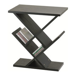 """Adesso - Adesso Zig-Zag Accent Table X-10-4164KW - MDF wood with black wood grain veneer. Storage/display areas are 8"""" deep and may be used for CD's, DVD's or knick-knacks."""