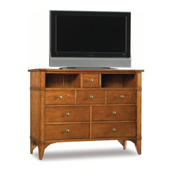 Hooker - Hooker Furniture Abbott Place Media Chest in Natural Cherry - Abbott Place bedroom features top-of-the-line, full-extension drawers with a smoothly-operating metal glide system. Self-closing drawers close with the touch of a finger.