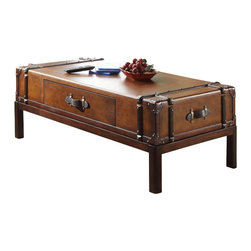 Riverside Furniture - Riverside Furniture Latitudes Suitcase Cocktail Table in Aged Cognac Wood - Riverside Furniture - Coffee Tables - 38702 - Riverside's products are designed and constructed for use in the home and are generally not intended for rental commercial institutional or other applications not considered to be household usage.