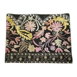Metrohouse Designs - Embroidered Suzani Black Velvet - Vintage black velvet suzani pillow case with beige, yellow, purple and pink silk design