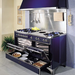 ILVE - ILVE Majestic Collection - ILVE 60 inch Majestic Duel Fuel range in Midnight Blue with Chrome trim.  Pictured with a stainless steel backsplash and color matched ILVE hood.