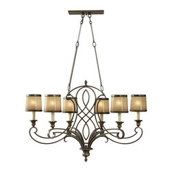 Murray Feiss - Murray Feiss Justine Transitional Chandelier X-BTSA6/0352F - Traditional elements and intricate scrollwork add texture and visual interest to this Murray Feiss chandelier. From the Justine Collection, it features six candelabra style lights with coordinating aged oak glass shades. A unique and warm toned Astral Bronze finish pulls the look together.