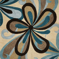 "Kas - Contemporary Milan 7'9""x9'9"" Rectangle Sand-Teal Area Rug - The Milan area rug Collection offers an affordable assortment of Contemporary stylings. Milan features a blend of natural Sand-Teal color. Hand Tufted of Polyacryclic the Milan Collection is an intriguing compliment to any decor."