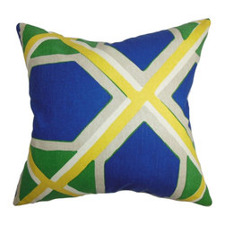 """The Pillow Collection - Quigley Geometric Pillow Blue Green 18"""" x 18"""" - The 18"""" accent pillow features a crisscross of geometric pattern in shades of green, blue, white and yellow. The rich colors blend well with the striking pattern. Add a contemporary flair to your family room, bedroom or lounge area with this 100% cotton-made square pillow. This decor pillow looks great on its own and easily blends with other patterns. Hidden zipper closure for easy cover removal.  Knife edge finish on all four sides.  Reversible pillow with the same fabric on the back side.  Spot cleaning suggested."""