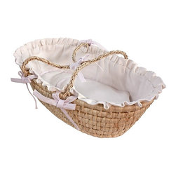 Hoohobbers - Hoohobbers White Pique Doll Moses Basket - 315-05 - Shop for Moses Baskets from Hayneedle.com! When favorite dolls or precious collectables need a special place to be displayed or played with then the Hoohobbers White Pique Doll Moses Basket is the perfect choice. This adorable hand crafted basket is woven from rattan material and features a Moses basket design with sturdy carry handles. Interior padded bumpers display colorful patterns and fabric details. It comes compete with a full size cotton flannel receiving blanket. Its unique duvet style padded bumpers open easily for machine washing and retain their crisp original shape. Other details include fancy double ruffles and handle ties as well as detailed piping. About HoohobbersBased in Chicago Hoohobbers has designed and manufactured its own line of products since 1981 beginning with the now-classic junior director's chair. Hoohobbers makes both hard goods (furniture) and soft goods. Hoohobbers' hard goods are not your typical furniture products; they fold are lightweight and portable and are made to be carried by children all around the house. Even outdoors Hoohobbers' hard goods are 100 percent water-safe. At the same time they are plenty durable and can take the abuse children often give. Hoohobbers' soft goods are fabric items ranging from bibs to bedding from art smocks to Moses baskets. Hoohobbers' products are recognized by independent third parties for their quality and performance. Hoohobbers has received Best Design Awards from America's Juvenile Products Association each time selected from more than 20 000 products. Hoohobbers has also received the Parents' Choice Award and no Hoohobbers product has ever been subject to consumer recall. Furthermore the company's products are often featured in leading women's and children's publications.
