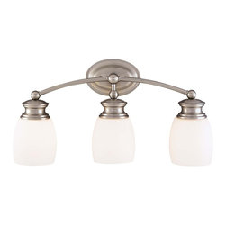 Savoy House - Savoy House Pour Le Bain-Elise Bathroom Lighting Fixture in Satin Nickel - Shown in picture: Coordinating Satin Nickel Bath Fixture - effortless - easy style with Opal Frosted Glass