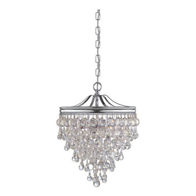 Calypso Pendant by Crystorama - Calypso 3 light pendant features smooth clear balls and an aged brass or polished chrome finish. Available in a pendant, wall sconce, ceiling flush mount, chandelier and rectangular suspension version. Includes 12 foot wire. Three 60 watt, 120 volt, B10 candelabra base incandescent lamps not included. General light distribution. 12 inch diameter x 15.5 inch height.